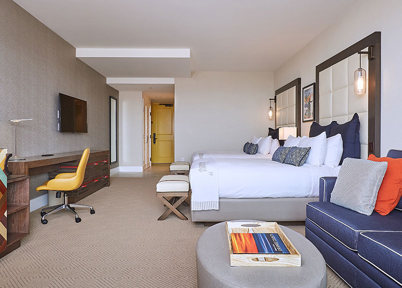 Ocean View Two Queens Room at Waterfront Beach Resort - a Hilton Hotel, Huntington Beach